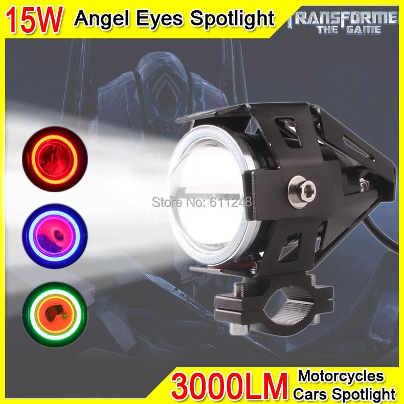 15W Projector Fog light Motorcycle Angel Eyes Strobe Spotlight DRL Led Light Red Angel Eyes For Trucks Boats Offroad Roof Light