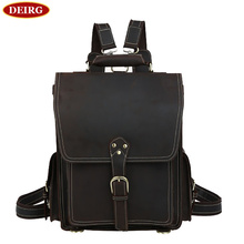 Natural Leather rucksack Men Backpack Vintage Trendy Weekend Trip Bags Bookbag mochila Fit for 17 inch Laptop PR091097