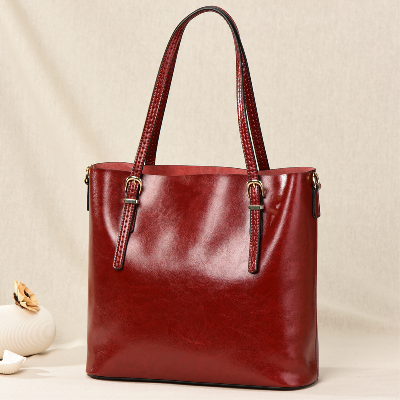 GESUNRY Brand 2018 Fashion Women Handbag Genuine Leather Women Bag Soft Oil Wax Leather Shoulder Bag Large Capacity Casual Tote new 2017 fashion brand genuine leather women handbag europe and america oil wax leather shoulder bag casual women