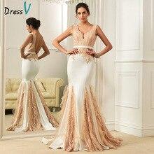 Dressv mermaid lace wedding dress sexy beading sequin backless v neck sleeveless sweep train vintage wedding dresses bridal gown