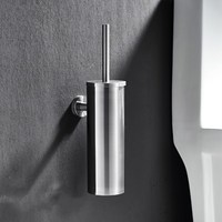 Toilet Brush For Cleaning Black Color with Stainless Steel Wall Mounted Brush Holder Chromed Finish Bathroom Cleaning Products