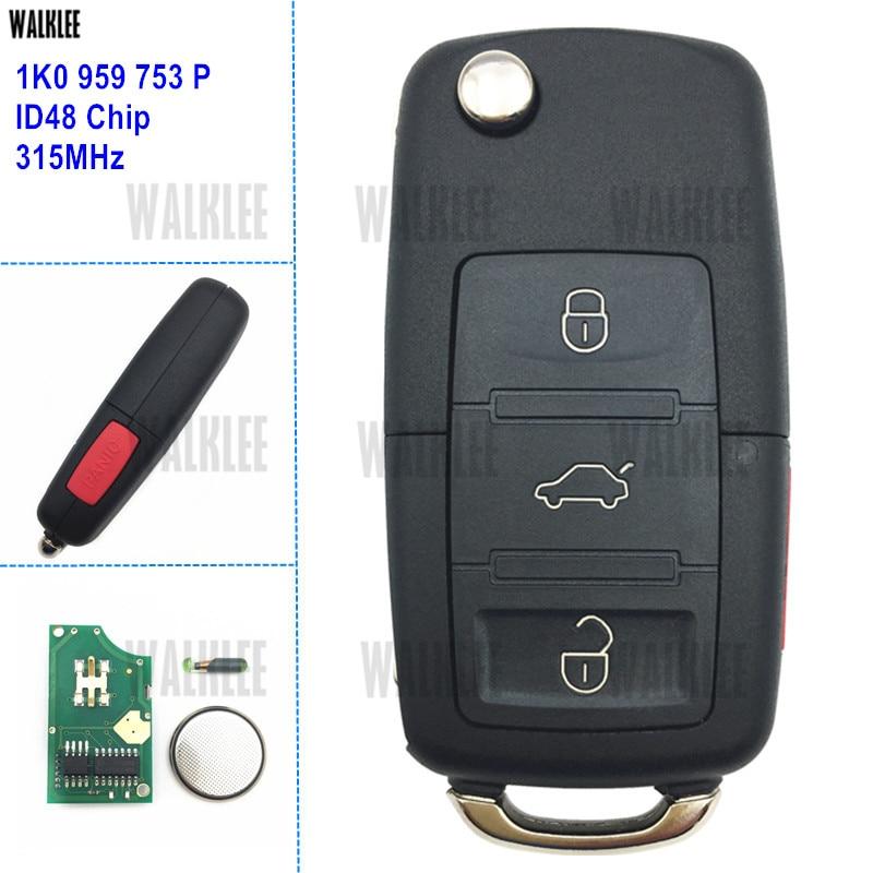 WALKLEE Auto Remote Key 315MHz fit for VW/VOLKSWAGEN 1K0959753P HLO 1K0 959 753 P for CC EOS Golf GTI Jetta Passat R32 Rabbit