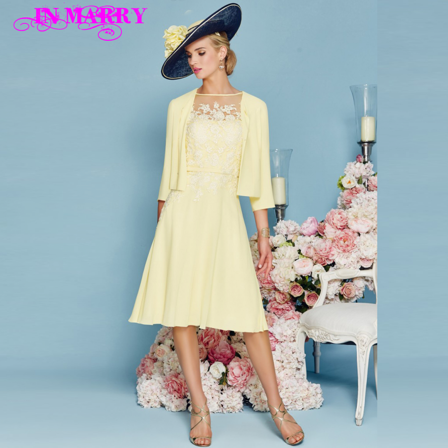Contemporary Cheap Mother Of The Bride Dresses Tea Length Adornment ...
