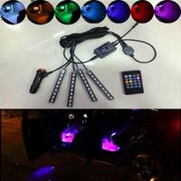 4Pcs Wireless Remote Music Voice Sound Control Car RGB LED Flash Neon Interior Light Lamp Strip
