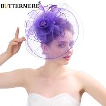 BUTTERMERE Pillbox Hat With Veil Purple Fedora Women Wedding Net Ladies Elegant Female Fancy Bride Tea Party New 2019
