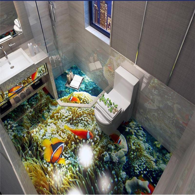Купить с кэшбэком beibehang 3D floor sea world clown fish floor tiles custom large fresco pvc thick wear resistant floor cover papel de parede