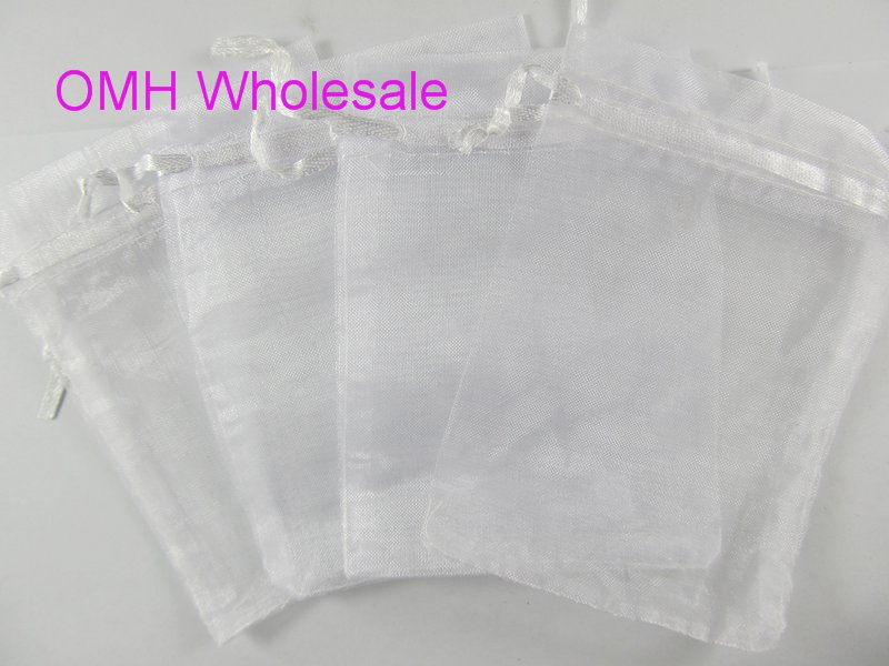 OMH Wholesale 50pcs White Christmas Packaging Bags Jewelry Voile Gift Bag BZ08-1
