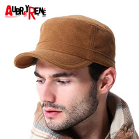 f263d1844f1 AUBREYRENE Outdoor Men Military Hat 2017 New Fashion Casual Adults Autumn  Winter Warm Military Caps Flat