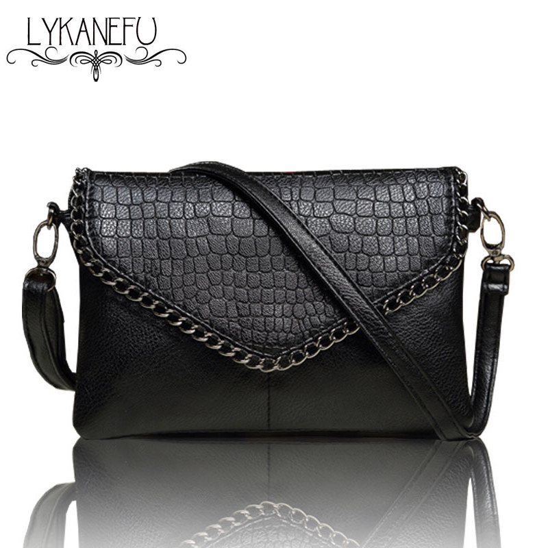 LYKANEFU Casual Small Bag for Women Messenger Bags for Women Shoulder Bags Crossbody Black Clutch Purse and Handbag Dollar Price lykanefu fashion black rock skull bag women messenger bags designer handbag clutch purse bag bolsas femininas couro dollar price