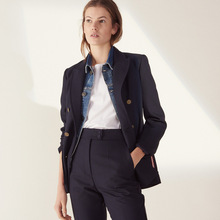 2019 Spring and Summer European American New Navy Suit Double Breasted OL Commuter Leisure Jacket Clothes Women