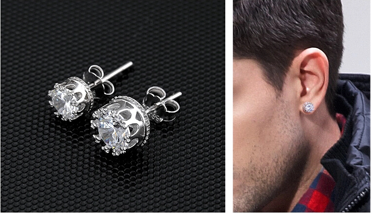 Crown Stud Earrings For Men Women Fashion Crystal Korea Style Silver 925 Brinco Pedra Zirconia S Christmas Gifts E022 In From Jewelry
