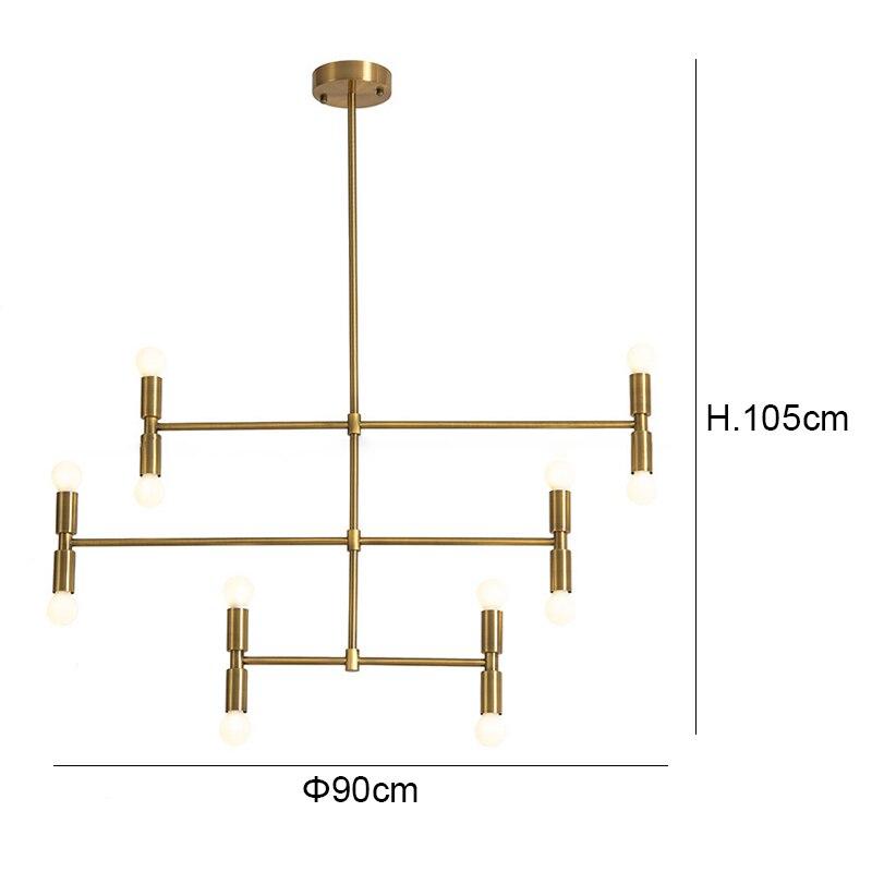 Modern Bjornled Pendant Lights black gold 12 head adjustable Dining Room Living Room Pendant Lamp Indoor Decoration Lamp E14 3W
