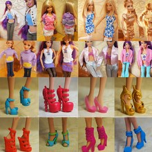 Randomly Picked 10 Pairs Fashion Princess Colorful Doll Shoes Heels Sandals For Cute Dolls Accessories Outfit Dress Girls Gifts