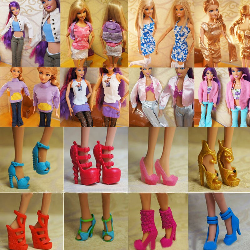 Randomly Picked 10 Pairs Style Princess Barbie Colourful Doll Footwear Heels Sandals For Barbie Dolls Equipment Outfit Costume