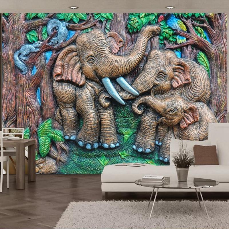 Wallpapers YOUMAN Custom Mural Wallpaper Baby Wallpapers Cartoon Elephants Mural Wall Murals Living Room Kidroom Photo Desktop все цены