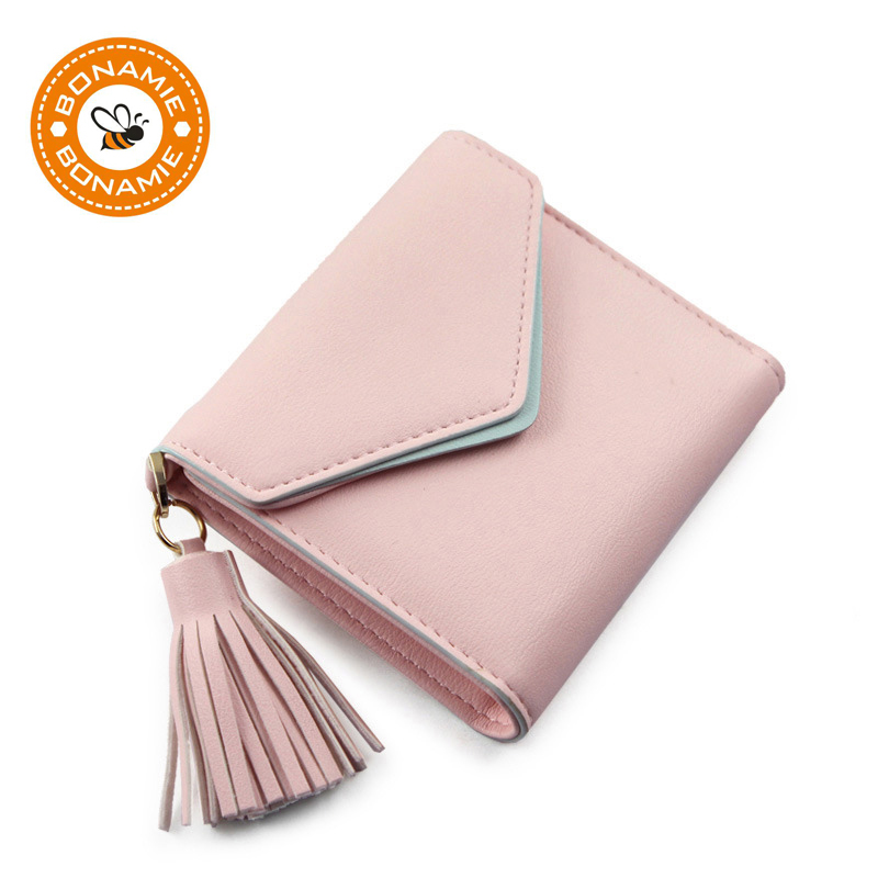 BONAMIE 2018 New Tassel Women Wallet Korean Version Simple Envelope Clamshell 3 Fold Hasp Short Paragraph Lady Small Purse