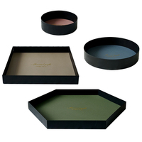 Pu Leather Storage Tray Jewelry Display Plate Necklace Ring Earrings Cosmetic Tray Decoration Organizer