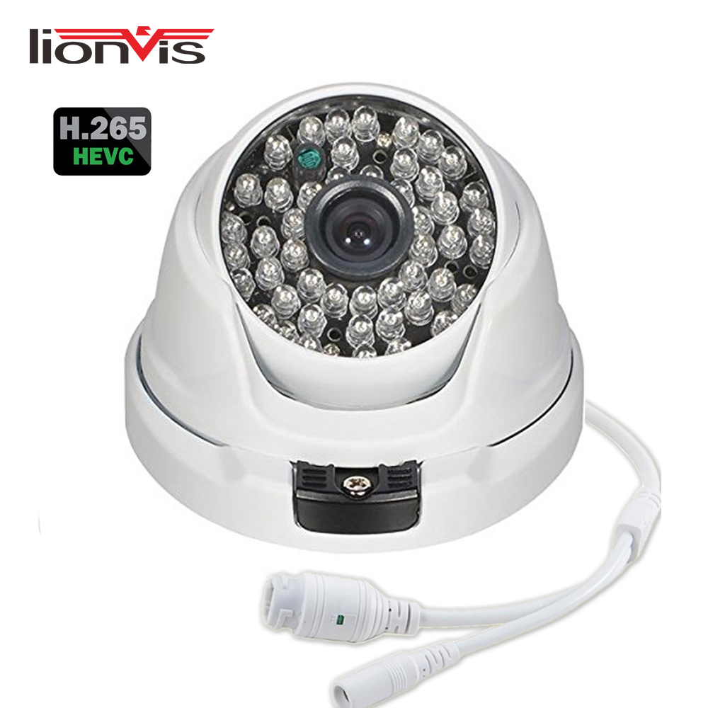 H.265 ONVIF Network IP Camera 2MP 3MP 4MP 48 IR Leds Night Vision Waterproof Metal Housing Dome CCTV Camera Support 48V PoE