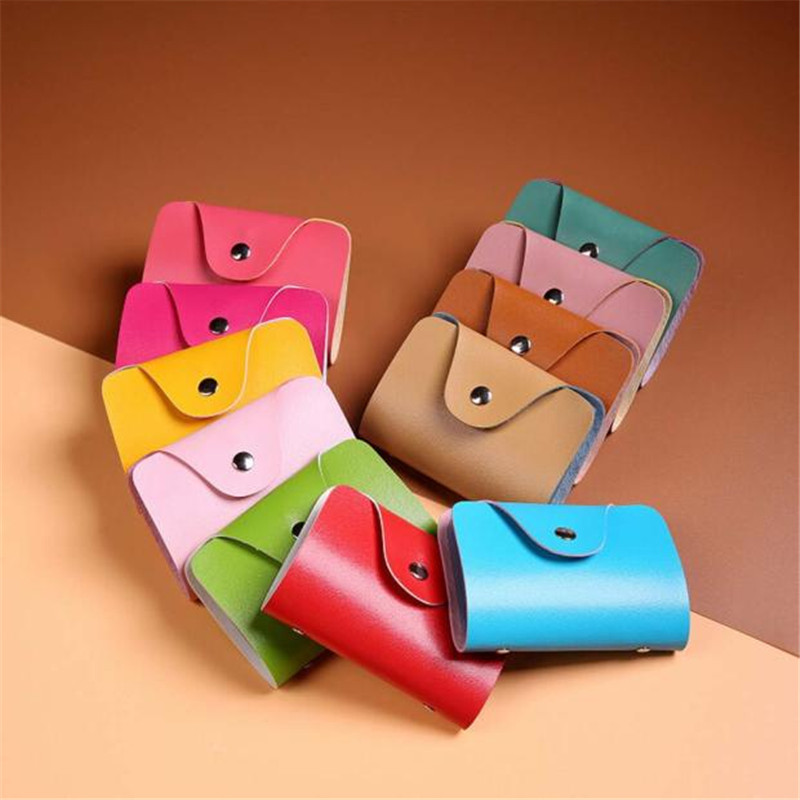2017 Mini Wallet Men Women 12 Colors Available Leather Credit Card Holder Case Card Holder Wallet Business Card Wallets Bag Case