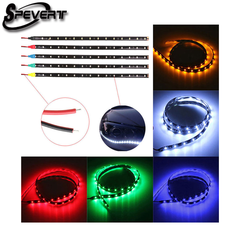 SPEVERT 11 8inch 30 CM Waterproof Strip Band 15 LED 3528 SMD Cold White DC12V Auto