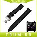 24mm correa de piel genuina + herramientas para sony smartwatch 2 SW2 Reloj Banda Correa de Pulsera Pulsera de La Correa de La Mariposa Broche Negro marrón