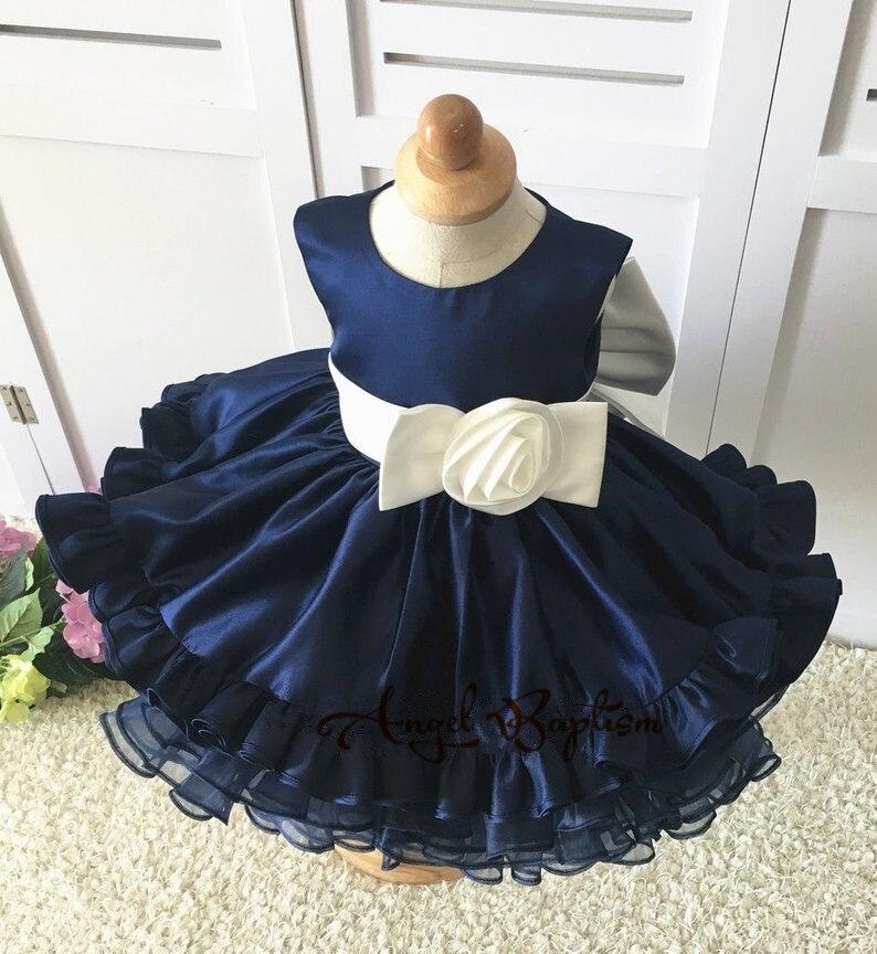 Bleu marine enfant en bas âge fille glitz robe de bal floral cupcake robes avec volants infantile pageant nouveau-né bébé première robe de fête d'anniversaire