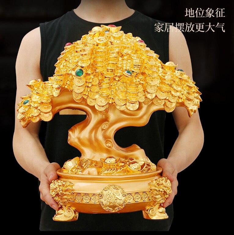 VENTE CHAUDE # Apportent richesse bureau accueil boutique L'argent de l'entreprise Dessin efficace Mascotte Or Pachira argent Arbre FENG SHUI statue