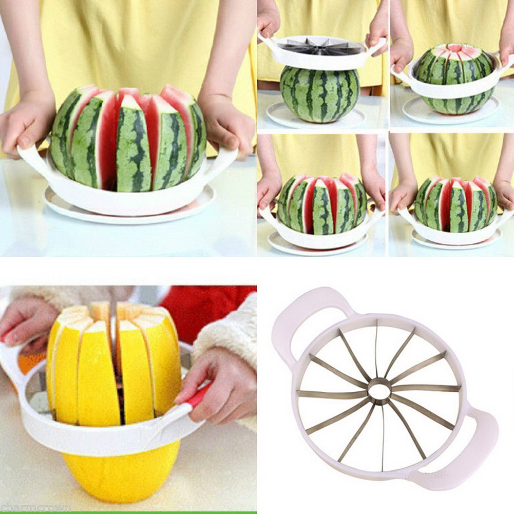 Creative Watermelon Slicer Melon Cutter Knife stainless steel Fruit Cutting Slicer White Convenient Kitchen Practical Fruit Cut