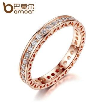 c39806d29c4c BAMOER boda anillo de dedo de oro Color de rosa anillos con circón 3mm de ancho  anillo de la joyería de moda PA7215