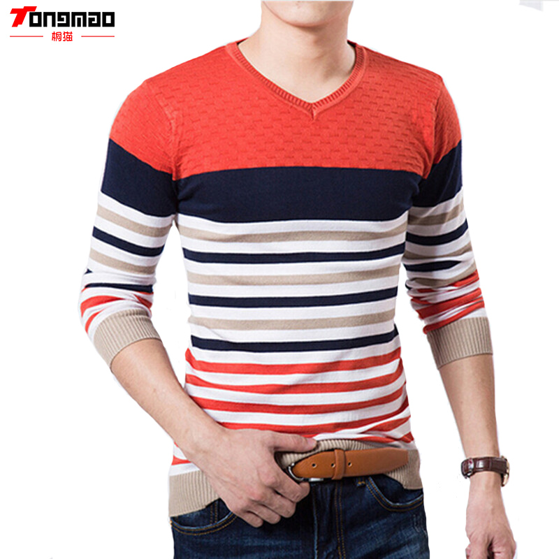 TONGMAO New Men's Sweater V-neck Long-sleeved Stripes Fight Color Pullover High-quality Brand Leisure Business Men's Sweater