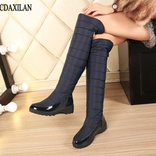 CDAXILAN new arrivals snow boots women patent leather down cloth over-the-knee boots leg-warming plush zip boots middle heel стоимость