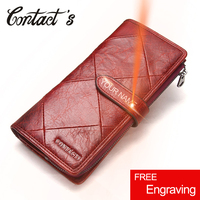 Contact's Red Long Clutch Wallet Women Genuine Cow Leather Patchwork Quilted Smartphone Wristlet Wallets Hasp Female Coin Purse