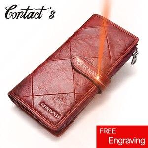 Image 1 - Kontakts Rot Lange Kupplung Brieftasche Frauen Echte Kuh Leder Patchwork Stepp Smartphone Armband Brieftaschen Haspe Weibliche Geldbörse