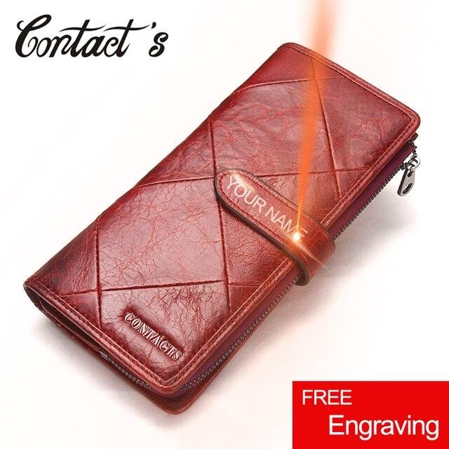 קשר של אדום ארוך מצמד ארנק נשים אמיתי פרה עור טלאי צמר Smartphone Wristlet ארנקים Hasp נקבה מטבע ארנק