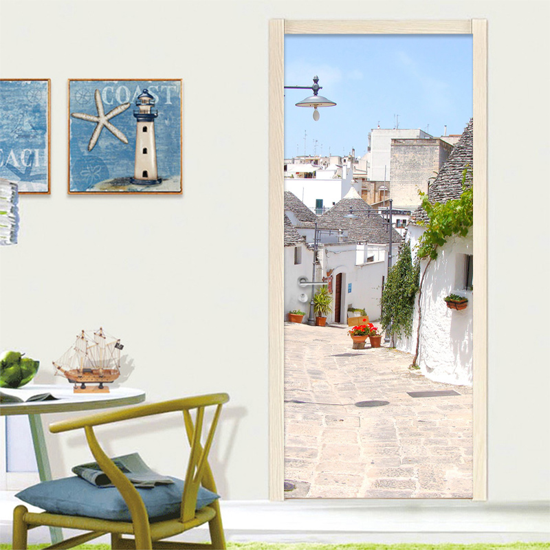 European Style White Town 3D Mural Wallpaper Modern Simple Cafe Dining Room Door Mural Sticker PVC Self-Adhesive Door Home Decor футболка destructo town white 1133970
