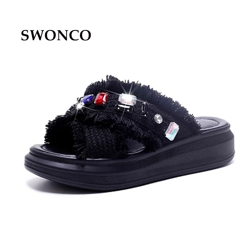 SWONCO Women's Slippers 2018 Summer Genuine Leather 4.5cm Thick Sole Girl Shoes Slippers Women Summer Beach Diamond Sandals professional english in use law