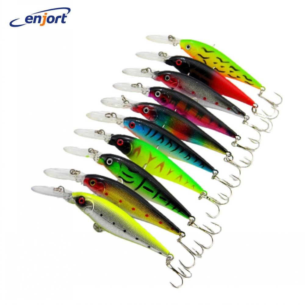 Minnow fishing lures 11cm 10g 6 hooks hard bait pesca for Fish and tackle