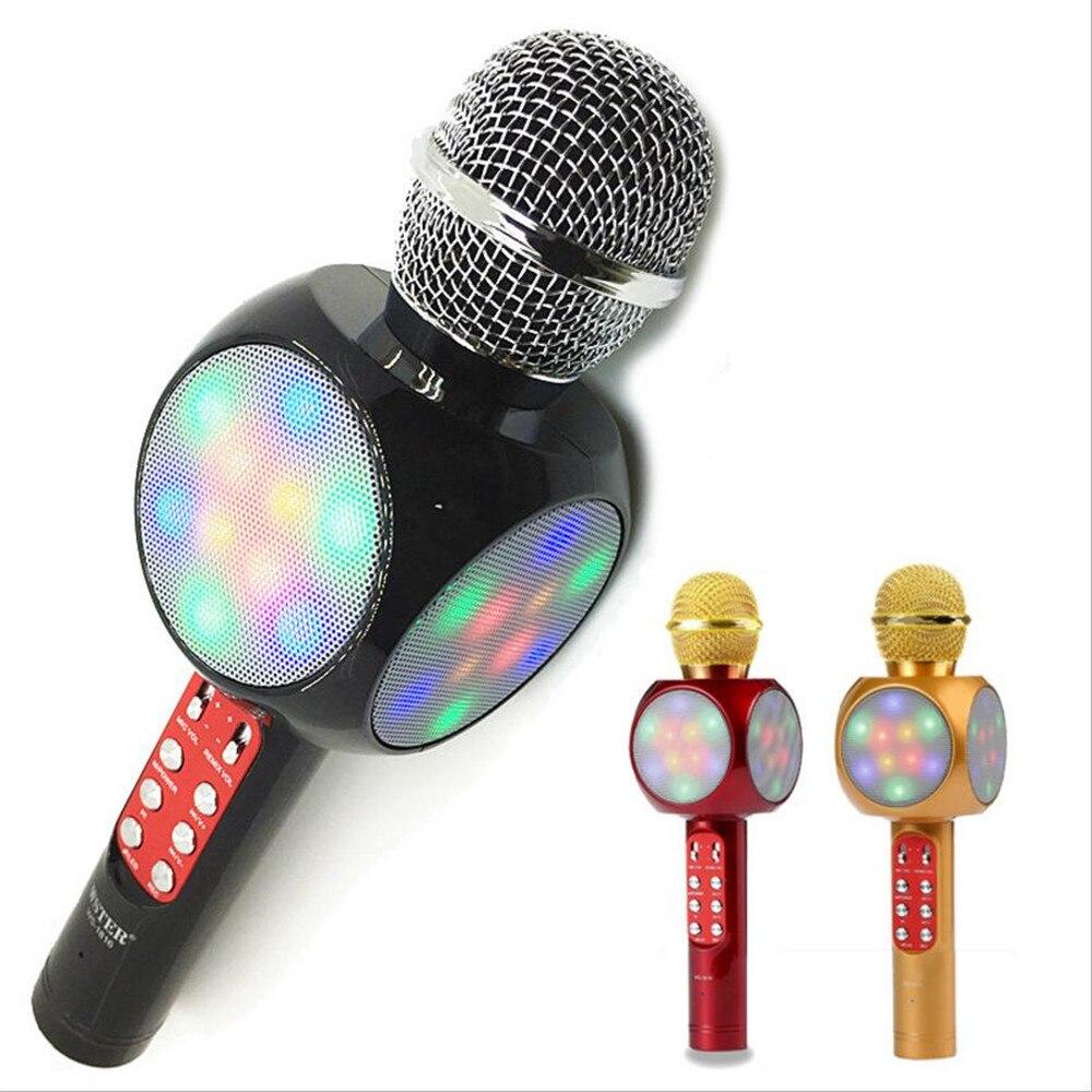 FGHGF WS1816 LED Lumière Sans Fil Mobile Téléphone MIC bluetooth Lecteur De Musique Karaoké Hifi Microphone