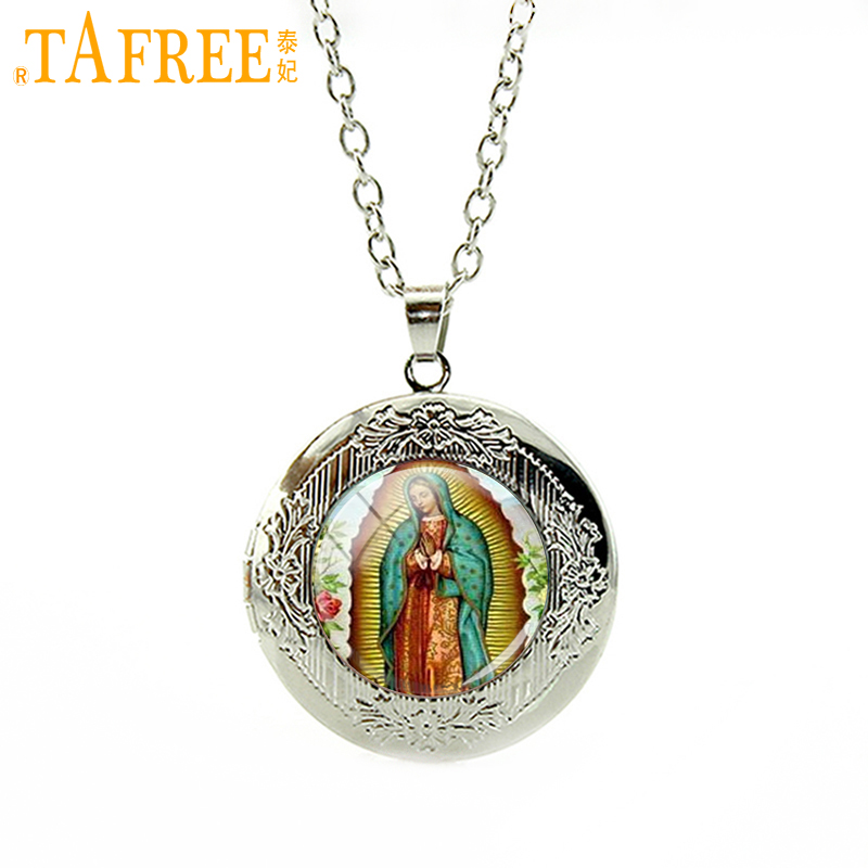 TAFREE Our Lady of Guadalupe pendant Virgin Mary Religious Catholic Glass dome locket necklace jewelry for women men charm N358|locket necklace|necklace jewelryjewelry for women - AliExpress