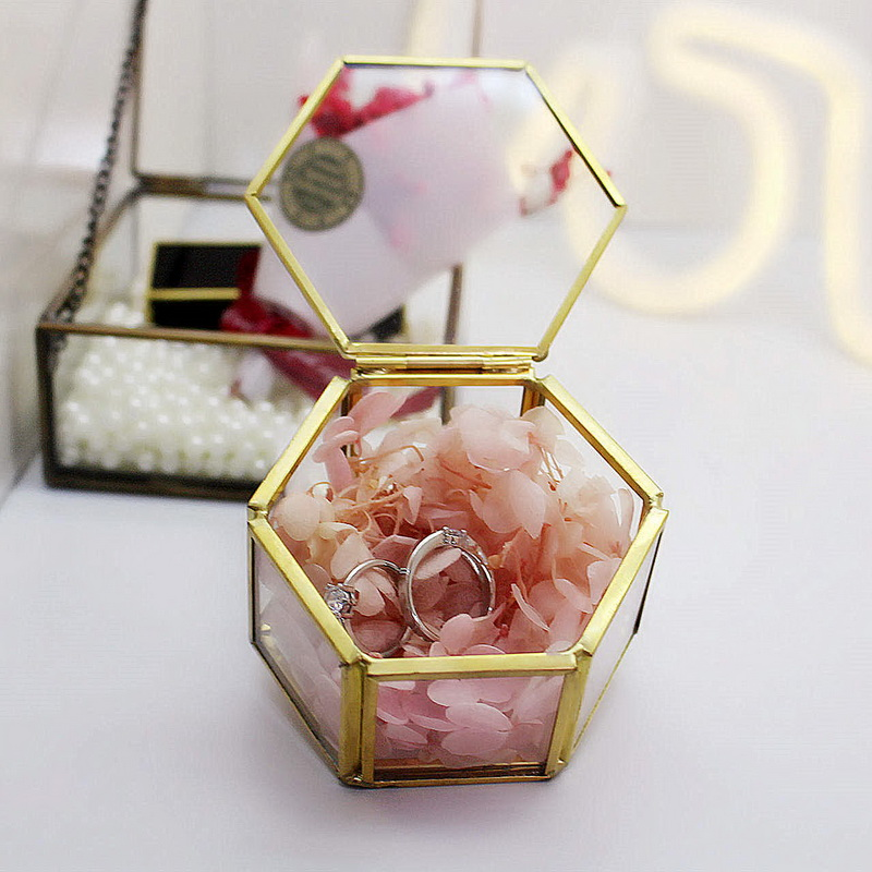 Ring-Box Flower Container Makeup-Organizer Jewelry Glass-Cover Everlasting Micro Geometry