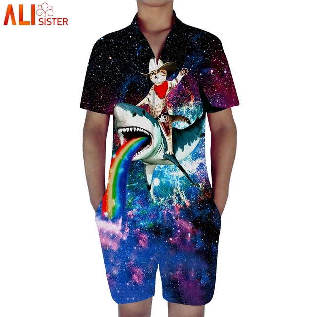 40fd421c3bb Alisister Galaxy Cat Print Summer Rompers Men s 3d Animal Short Jumpsuit  Playsuit Harem Cargo Overalls Tracksuit Beach One Piece
