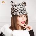 Speckle Cartoon Animal Ear Womens Hats Cute Wool Beret Cap Winter Spring Female HatT104