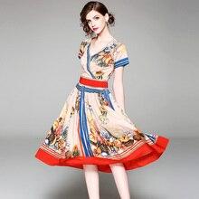 Mujer verano estampado a-line Vestido de manga corta cuello en V Mujer a-line vestido de fiesta señora media impresión vestido