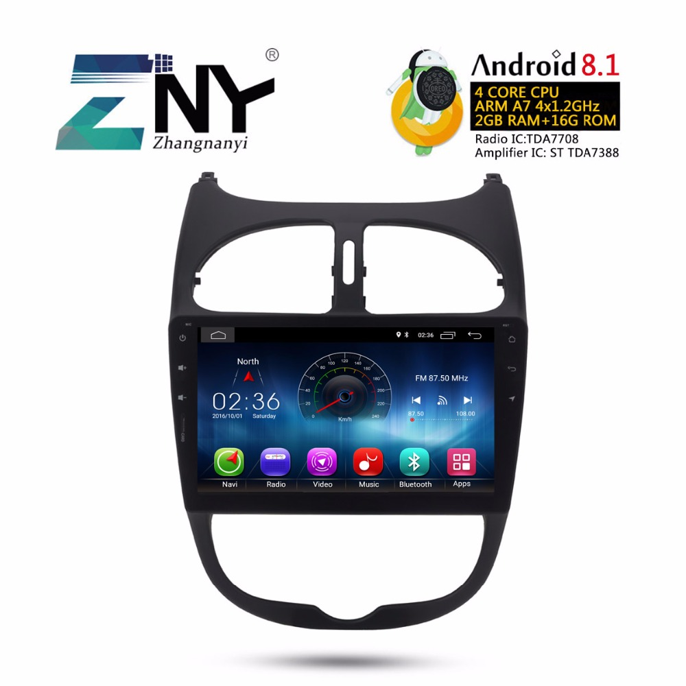 """Dapper 9 """"android 8.1 Auto Stereo Auto Radio Voor Peugeot 206 2000-2016 Gps Navigatie Fm Rds Wifi Bt Audio Video Multimedia Gift Camera"""