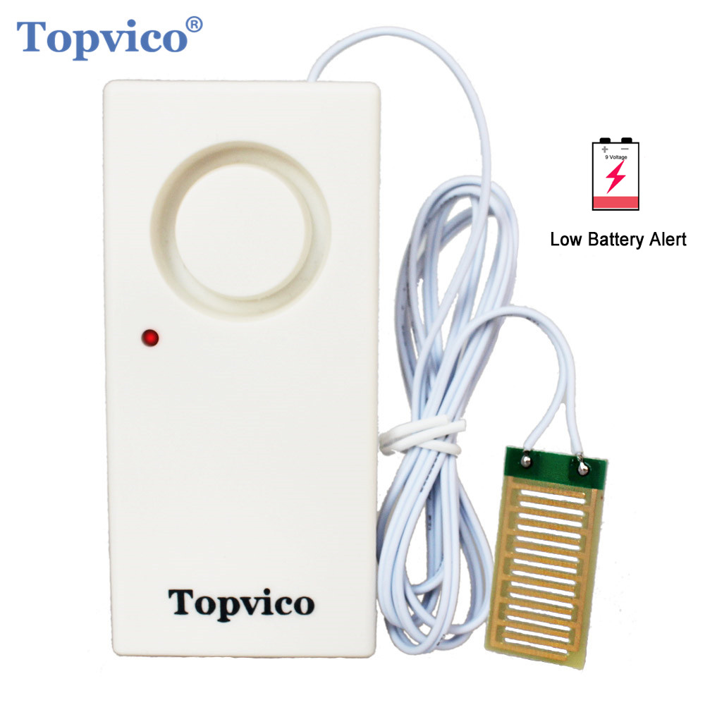 Topvico Water Leakage Sensor Leak Detector Overflow Flood Alarm Detection 130dB + LED Low Battery Alert Home Security Alarm