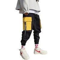 Men Hiphop Punk Jogger Sport Harem Pants Yellow Cargo Pocket White Black Ribbon
