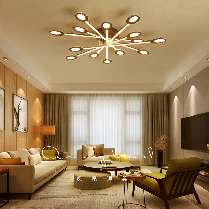 Brown modern Led Chandelier lighting for bedroom living room iron acrylic lustre luminaria lampadario Ceiling Chandelier
