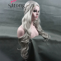 StrongBeauty Long Wavy Silver Cosplay wig Costumes Hair Wig