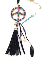 personalized handmade jewelry long leather cord necklace leather tassel pendents unique boho long Necklaces with peace designs