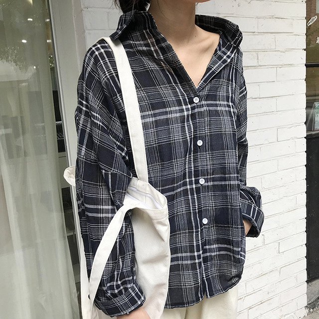 41320662fd8 2018 New Women Linen Cotton Casual Blouses Long Sleeve Plus Size Oversize  Street Plaid Shirts Femme